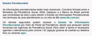 Texto do Extrato Previdenciário do Site do INSS