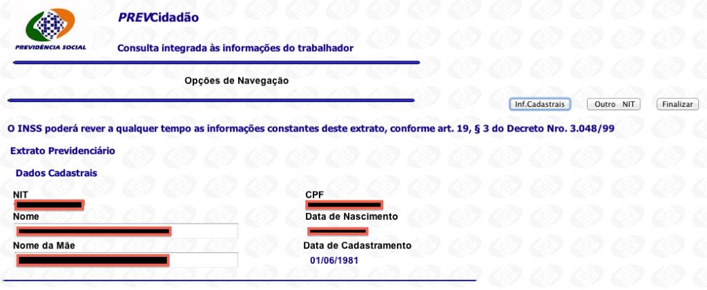 Extrato Previdenciário - Formulário 2