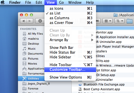 Costumize Toolbar Finder